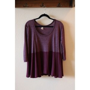 Free People Purple Thermal Flowy Two-Toned Top